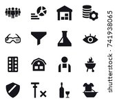 16 vector icon set   team ... | Shutterstock .eps vector #741938065
