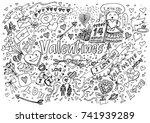 valentine doodle hand draw love ... | Shutterstock .eps vector #741939289