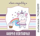 happy birthday card  with... | Shutterstock .eps vector #741943099
