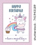 happy birthday card  with... | Shutterstock .eps vector #741943189
