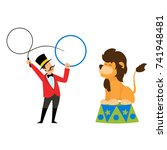 the trainer performs with a... | Shutterstock .eps vector #741948481