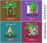 vector set of training outside... | Shutterstock .eps vector #741951247