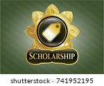 gold emblem with tag icon and... | Shutterstock .eps vector #741952195