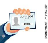 businessman holding id card... | Shutterstock .eps vector #741952609