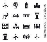 16 vector icon set   windmill ... | Shutterstock .eps vector #741953725