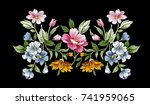 Stock vector vintage floral embroidery design flower vector illustration 741959065