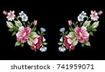 vintage floral embroidery... | Shutterstock .eps vector #741959071