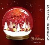 christmas festive graphic card... | Shutterstock .eps vector #741961705