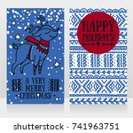 greeting cards for christmas... | Shutterstock .eps vector #741963751