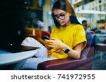 pondering attractive freelancer ... | Shutterstock . vector #741972955