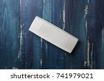 white rectangular plate on... | Shutterstock . vector #741979021