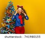 festive season. portrait of... | Shutterstock . vector #741980155