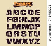 decorative alphabet vector font.... | Shutterstock .eps vector #741980221