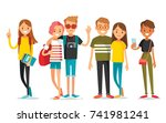 vector set of young people | Shutterstock .eps vector #741981241