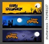 three halloween banners headers ... | Shutterstock .eps vector #741983137
