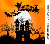 halloween party poster with... | Shutterstock .eps vector #741983209