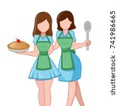confident baker twins   Shutterstock .eps vector #741986665