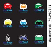 set of nine car wash icons | Shutterstock .eps vector #741987841