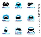 set of nine car wash icons | Shutterstock .eps vector #741989494