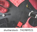 top view sport wear concept... | Shutterstock . vector #741989521