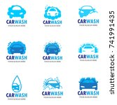 set of nine car wash icons | Shutterstock .eps vector #741991435
