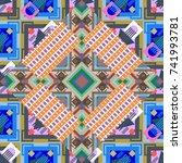 abstract retro seamless pattern ... | Shutterstock . vector #741993781