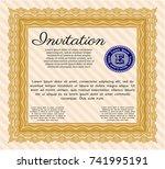orange vintage invitation... | Shutterstock .eps vector #741995191