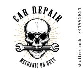 car repair. human skull with... | Shutterstock .eps vector #741995851