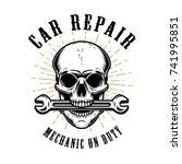 car repair. human skull with...   Shutterstock .eps vector #741995851
