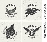 set of hand drawn biker emblems