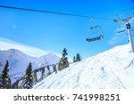 ski lift in the austrian alps | Shutterstock . vector #741998251