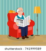 grandfather  reading newspaper... | Shutterstock .eps vector #741999589