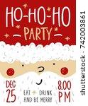vector christmas party...   Shutterstock .eps vector #742003861