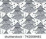 seamless pattern with ornate... | Shutterstock .eps vector #742008481