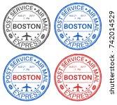 boston postmarks. set of... | Shutterstock .eps vector #742014529
