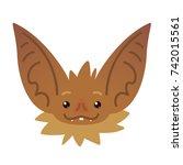 cute bat head. illustration of... | Shutterstock . vector #742015561