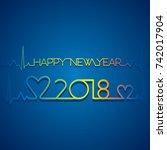 creative happy new year 2018...   Shutterstock .eps vector #742017904