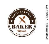 baker logo symbol flat isolated ... | Shutterstock .eps vector #742018495