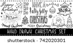 set of christmas typography and ... | Shutterstock .eps vector #742020301