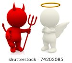 3d Angel And Devil   Isolated...