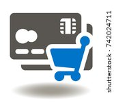 credit card shopping cart icon... | Shutterstock .eps vector #742024711