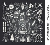 big set of christmas doodles.... | Shutterstock .eps vector #742031467