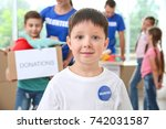 little boy in shirt with... | Shutterstock . vector #742031587