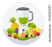 green smoothie flat design icon   Shutterstock .eps vector #742034557