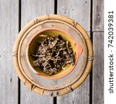 dried chantarelles in a bowl... | Shutterstock . vector #742039381