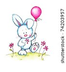 Cute Bunny Holding Pink Flower...