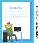 office work with text sample... | Shutterstock .eps vector #742043281