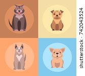 cute dogs cartoon icons set....   Shutterstock .eps vector #742043524