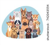 concept of purebred dogs.... | Shutterstock .eps vector #742043554