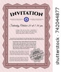 red vintage invitation. printer ... | Shutterstock .eps vector #742044877
